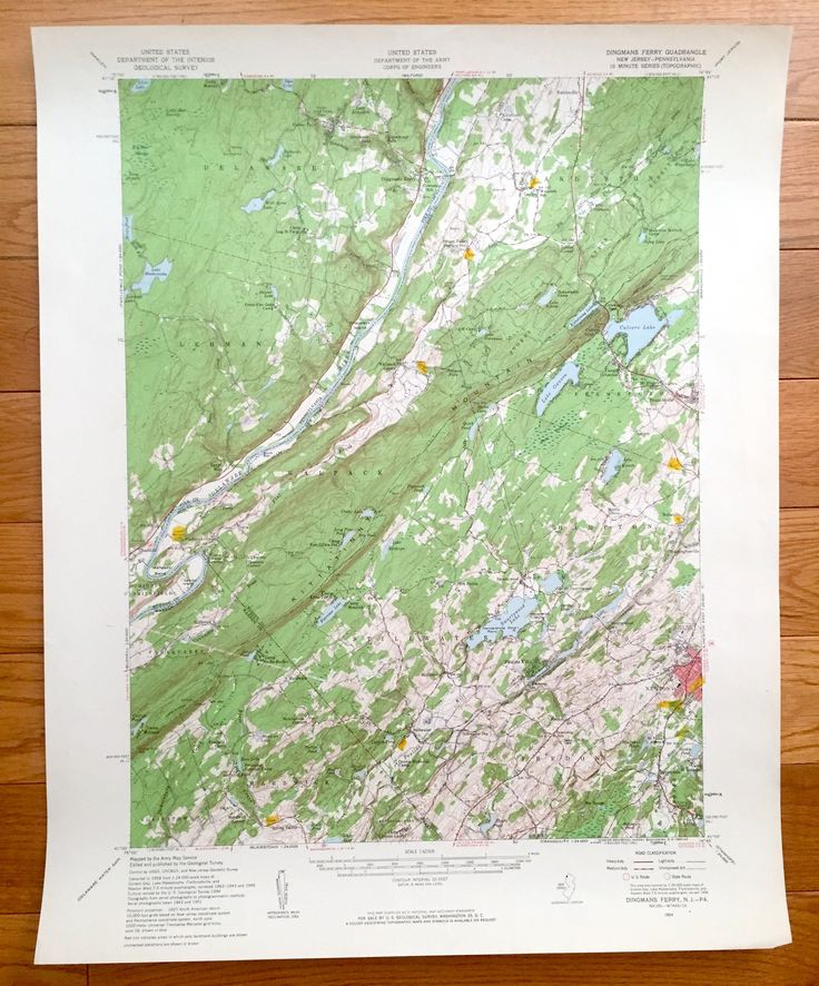 Antique Dingmans Ferry Pennsylvania 1954 Us Geological Survey Topographic Map Pike County Sussex