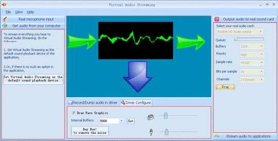 Virtual Audio Streaming. Set up a virtual sound card that lets you broadcast/record/connect all kinds of sounds.