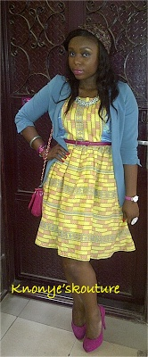 Rocking two Ankara combo dress and a blazer.