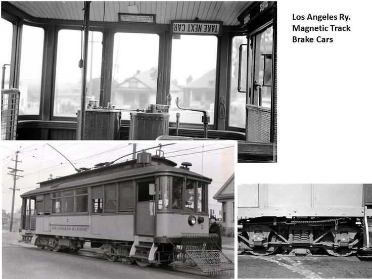 Los Angeles Ry. Magnetic Track Brake Car - The Los Angeles Railway's fleet of MAGGIEs worked the hilly I line for several decades. Unlike the majority of LARY's car fleet that used air brakes, the MAGIEs used an electric magnetic brake located between the wheels on the standard LARY archbar truck, not unlike the magnetic brake on the more modern PCC truck.