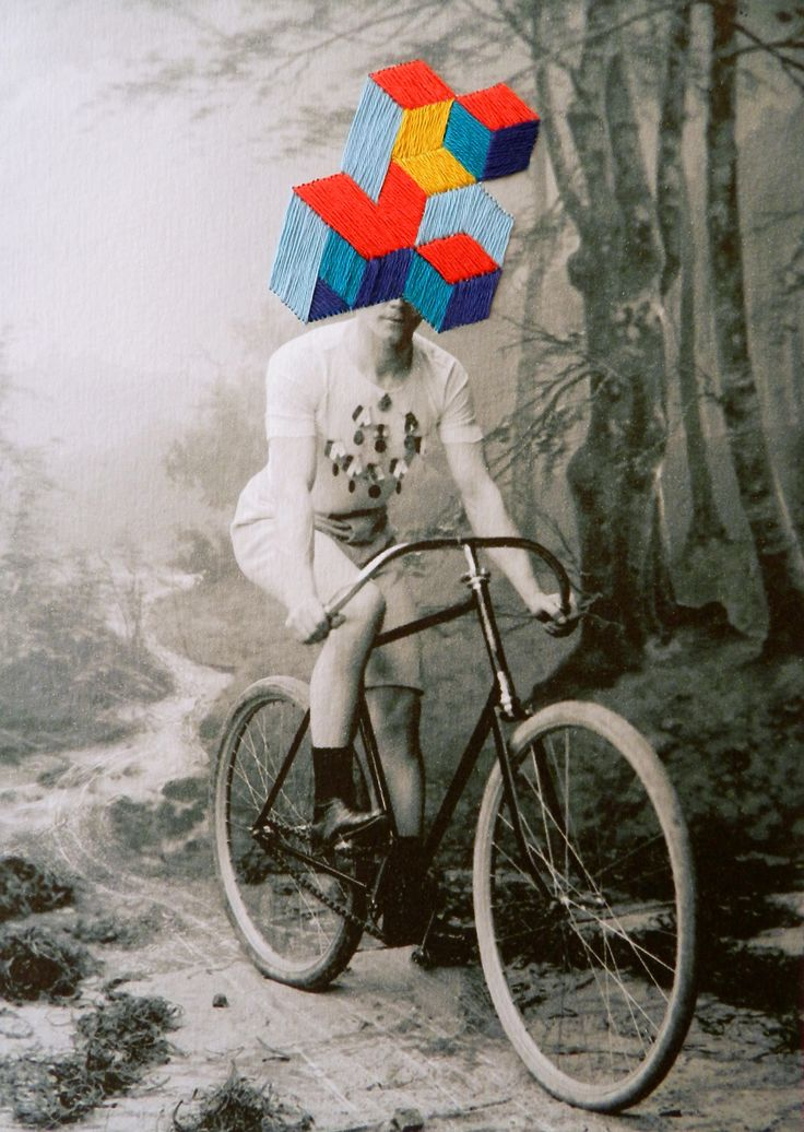 "Image manipulation - ""Embroidery on a found photo, by Happy Red Fish"""