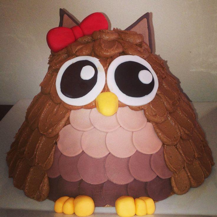 Owl cake - buttercream frosting