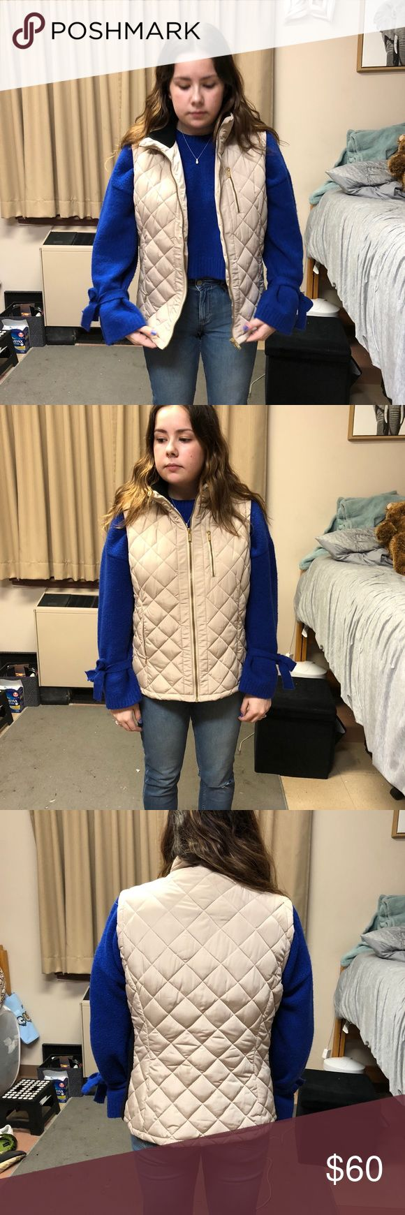 Calvin Klein Quilted Vest Beige vest perfect for fall or spring days. You can even pair it with a heavy sweater underneath for the winter time! Size large. I also have a black one. It has been worn quite a few times, but it is still in great condition! Calvin Klein Jackets & Coats Vests