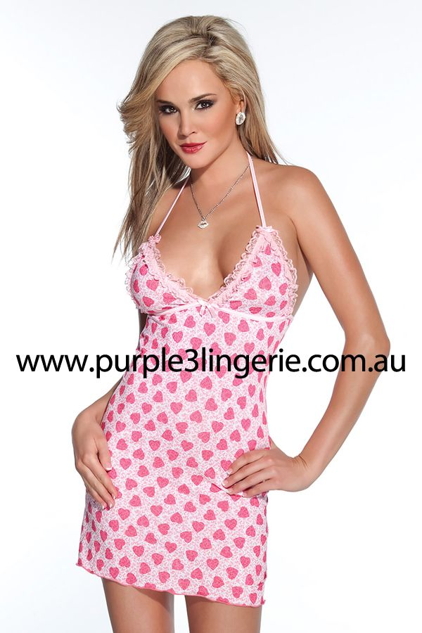 Coquette Heart Print Lycra Halter Top Chemise with Low Cut Back and Ties (Style 3368). Available in Australia at Purple3 Lingerie Australia