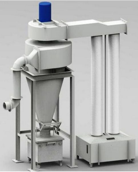 Cyclone dust collectors are also sometimes referred to as cyclone separators. They are primarily used to remove heavier density particles. http://www.dynavac.in/dust-collectors/cyclone-dust-collector/