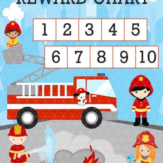 Belohnung Diagramm Feuerwehrmann - Kids mühsam Chart - lästige Pflicht Chart - Töpfchen-training - Familienorganisation - Familie Aufgaben - Vorschule