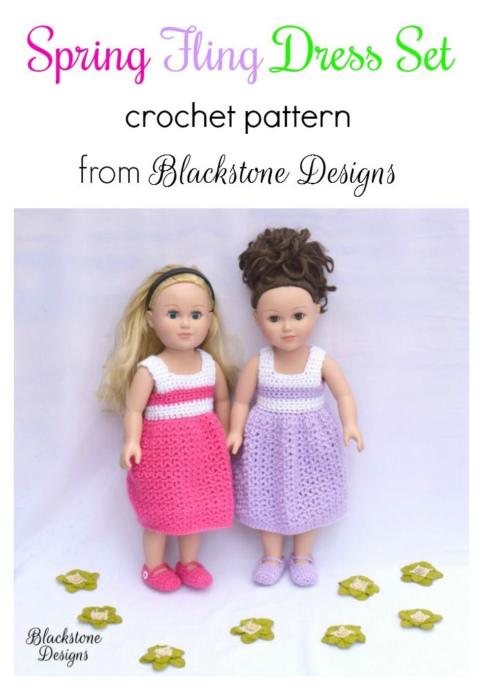 "Spring Fling Dress Set crochet pattern from Blackstone Designs for 18"" dolls  #crochet #crochetpattern #spring #easter #dollclothes #dolldress #americangirl #madamealexander #mylife #doll"