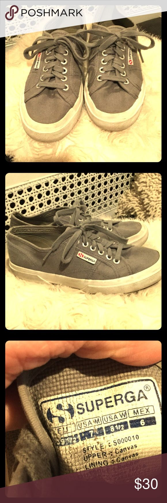 Women's Superga Classic COTU 2750 Sneakers in gray Women's Superga Classic COTU 2750 Sneakers in charcoal gray size 8.5 in ladies shoes.  My daughter wears shoes size 8/8.5/9 depending on shoe type. Great condition.  Comes from clean non-smoking home. Superga Shoes Sneakers