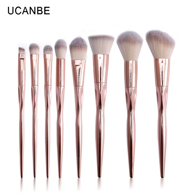 Ucanbe merk 8 stks luxe rose goud metalen up kwasten set greep cosmetische professionele oogschaduw contour make up brush pinceis