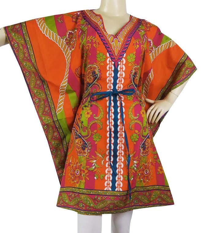 Orange mix beautiful Kaftan mini  Dress Floral Caftan Plus Size Gift for her Beach Cover Up summer dress-Best Seller Cafthan  hippie kafthan by colorfuloutlet on Etsy
