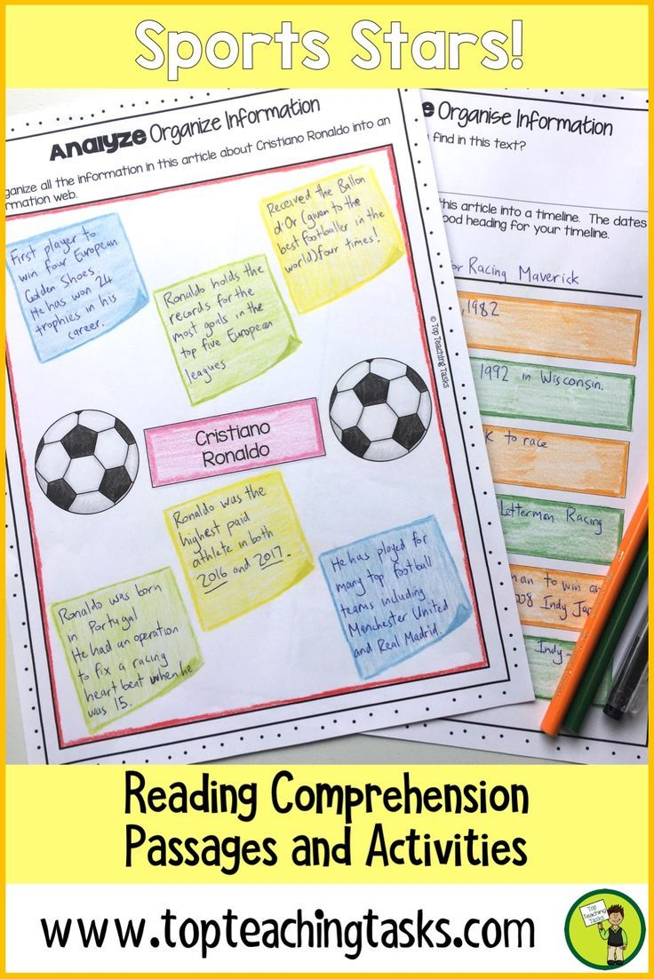 This Sports Stars! differentiated reading comprehension resource includes seven Grade Four (Year Five) and Grade Five (Year Six) non-fiction informational passages with six engaging text dependent higher order thinking tasks - perfect for close reading! Great for test prep, literacy circles, guided reading activities for kids. Learn about Cristiano Ronaldo, Steven Adams, Serena Williams and more.