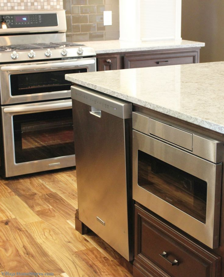 Stainless Steel Double Gas Range From Kitchenaid And A Sharp Microwave Drawer On The Interior Side Of Kitchen Island Vill Liances In 2018