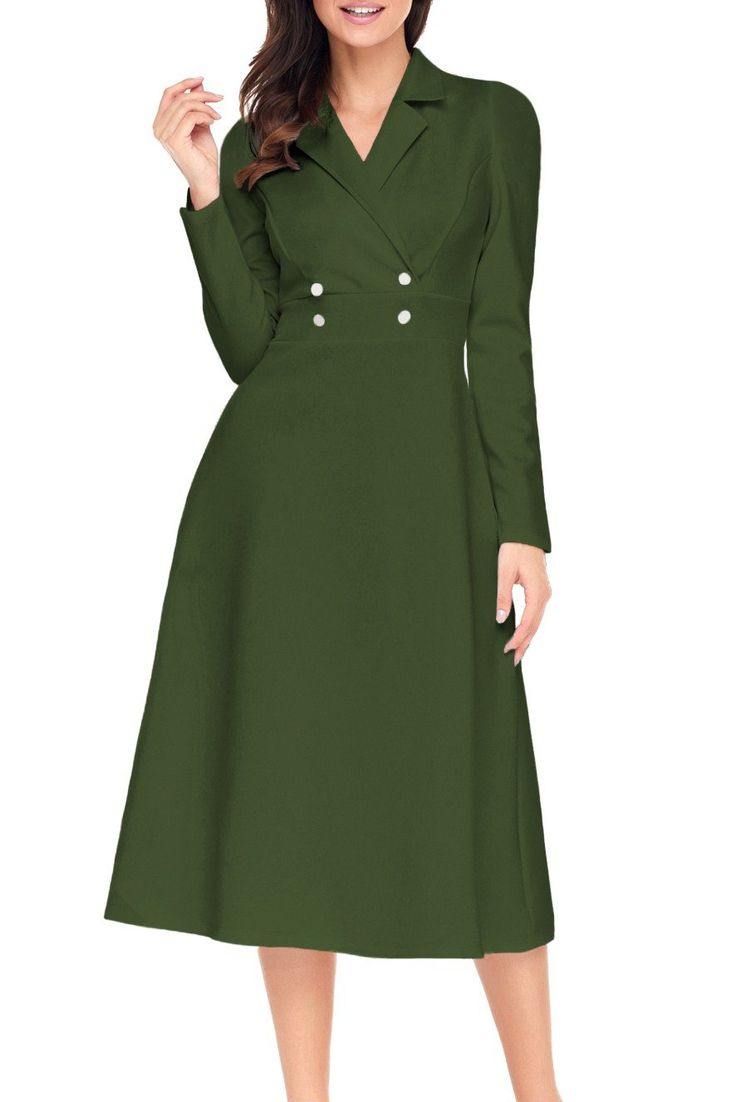 Robe Vintage Manches Longues Vert D'armee Bouton Pas Cher www.modebuy.com @Modebuy #Modebuy #Vert #occasion #mode #style #vintage