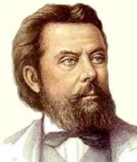 """Modest Musorgskij (1839-1881) - ruský skladatel, člen """"mocné hrstky"""". Vytvořil monumentální lidové hudební drama """"Boris Godunov"""" (1869, 2. vydání 1872) a """"Khovanshchina"""" (1872 - 1880, dokončen mikolajem andrejevičem  Rimským-Korsakovem, 1883). Vytvořil dramatické scény, ve kterých poukázal na život lidí"""