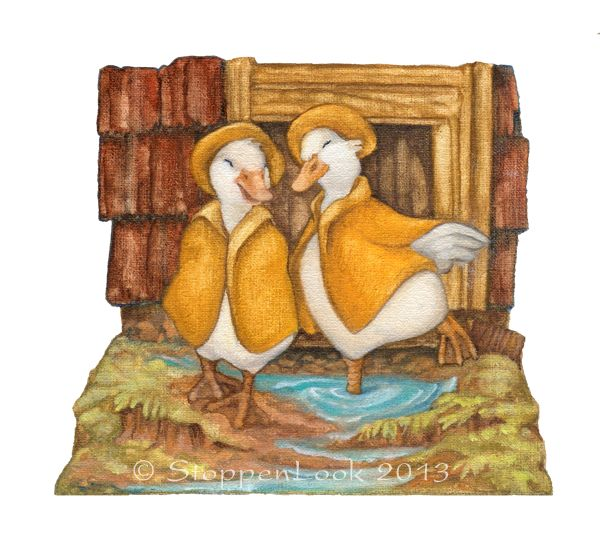 "This archival quality print is a reproduction of an oil painting for the Peekabout series. These two little ducks are enjoying the rainy day puddles - I hope you will too! Print size: 5""x5"" Peekabout No: 5"