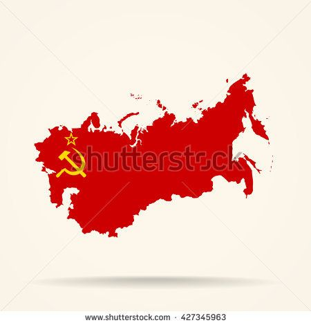 Map of Soviet Union in Soviet Union flag colors