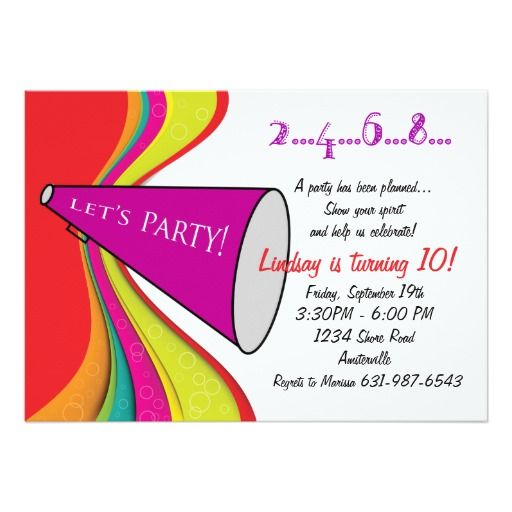 432 best cheerleader birthday party invitations images on pinterest lets party megaphone invitation filmwisefo