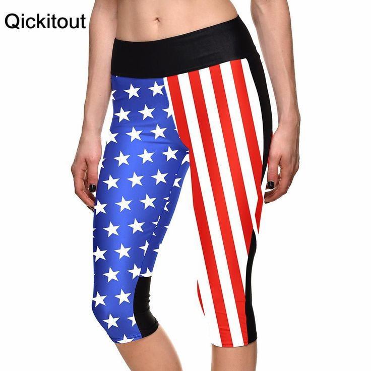 7 point pants women legging American flag blue and red digital print women high waist Side pocket phone pant