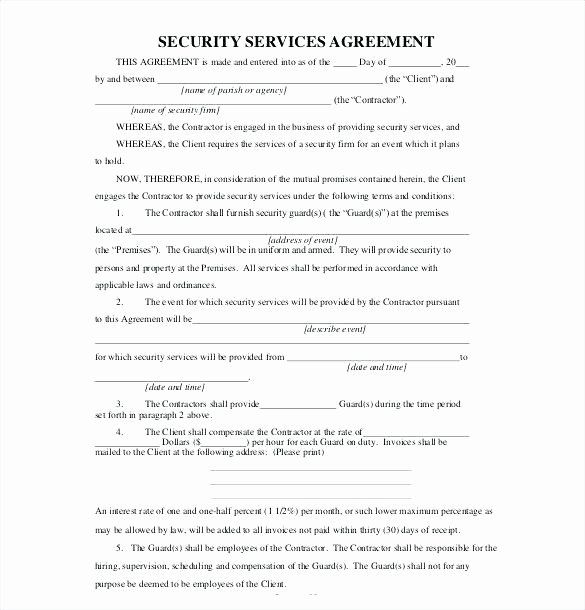Security Guard Contract Template Fresh Security Guard Service Contract Sample Termination Letter Contract Template Lettering Templates Free Design