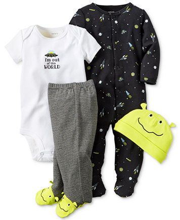 Carter's Baby Boys' 4-Pc. Alien Hat, Bodysuit, Footed Pants & Footed Coverall Set | macys.com