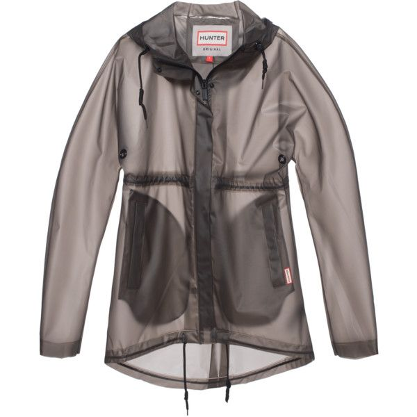 HUNTER Original Clear Smock Graphite // Transparent rain coat (15.445 RUB) ❤ liked on Polyvore featuring outerwear, coats, jackets, tops, waterproof raincoat, clear rain coat, black hooded coat, black coat and hunter coats