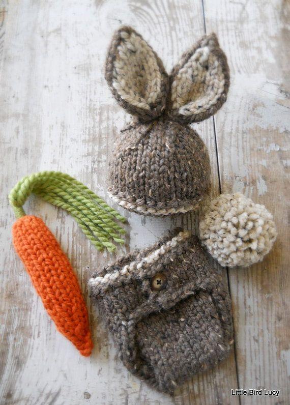 Baby Bunny Hat Newborn Photo Prop Set Ready to by LittleBirdLucy, $56.99