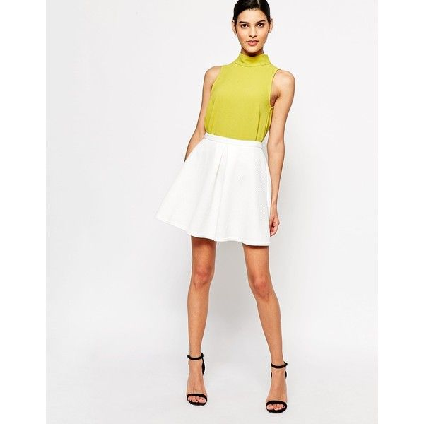 Closet Flared Skirt in Waffle ($22) ❤ liked on Polyvore featuring skirts, ivory, white high waisted skirt, white circle skirt, zipper skirt, circle skirt and tall skirts