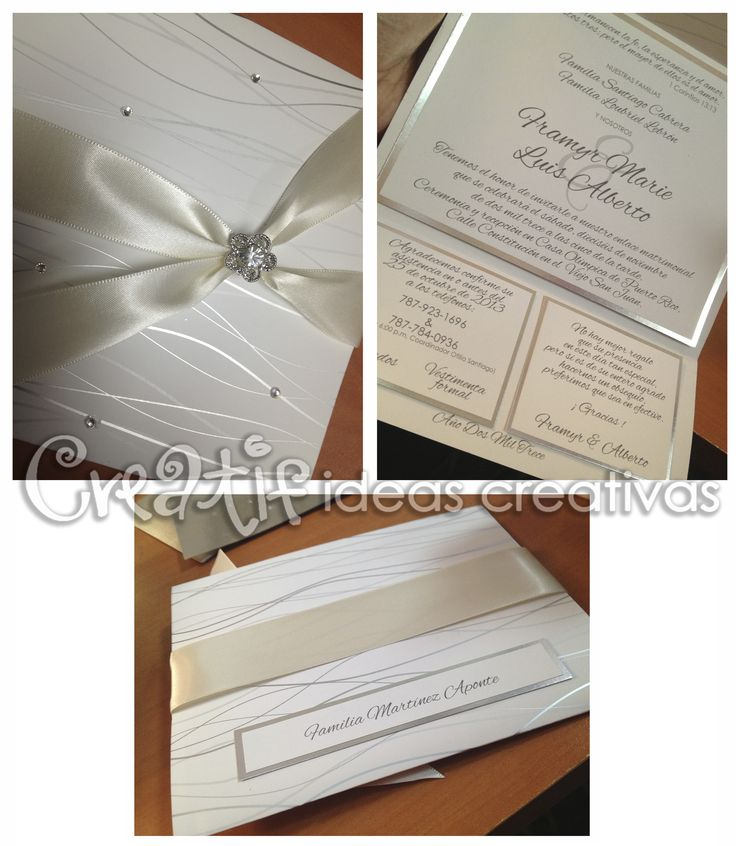 #wedding #invitations #crystals Customized Invitations For Wedding +  Crystal Details + Silk Ribbon