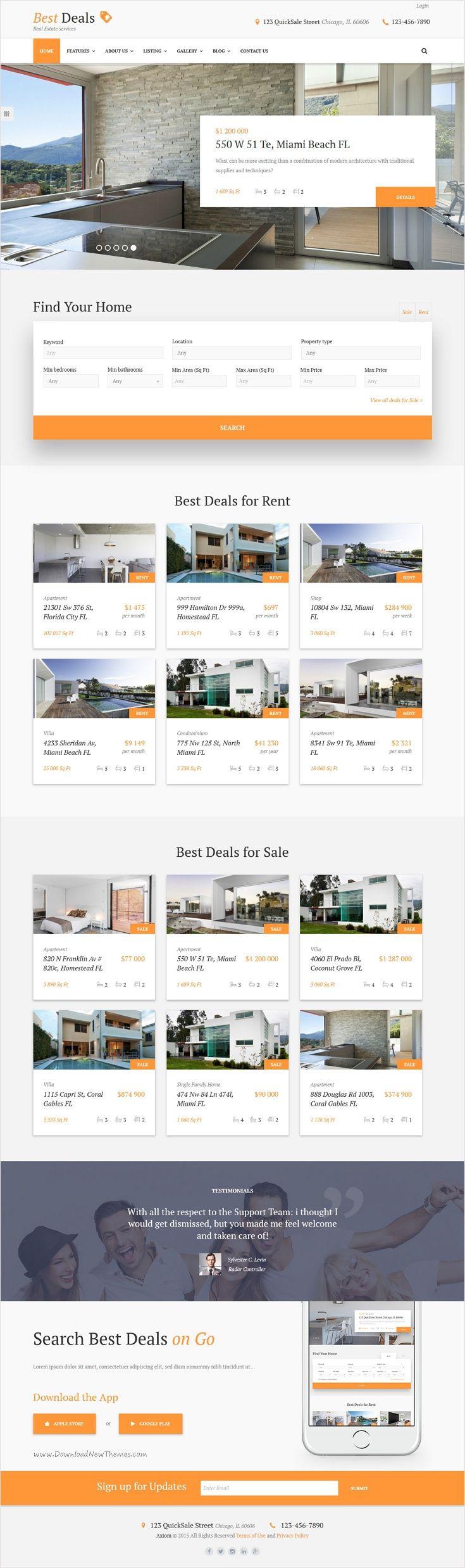 Пример баннера, поискового фильтра, списка всех бизнес-центров и популярных помещений.