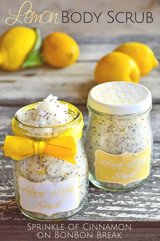 DIY Lemon Body Scrub. Scrub away dry winter skin in preparation for Spring!