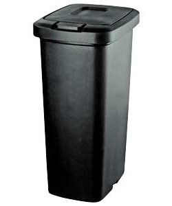 35 Litre Touch Top Kitchen Bin - Black.  one for each recycling category side by side
