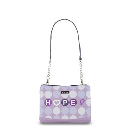 Hope (purple) for Petite    Perky and fresh, the Hope (purple) for Petite Bags lets you show your support for a great cause with light-hearted sweetness. Smooth lavender faux leather with polka dots in various shades of purple. Catch the Spirit of Hope—a portion of every purchase of a Hope Shell goes directly to cancer research.    Base bag and handles not included