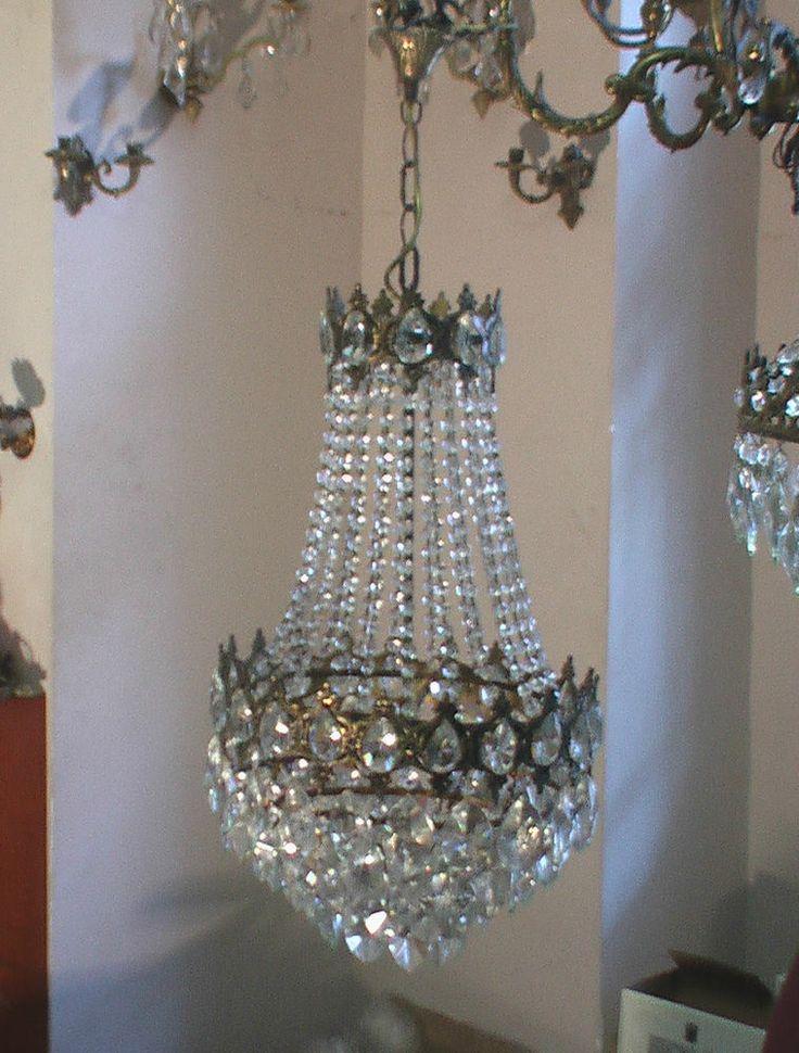 Antik Kronleuchter Lster Kristall Lampe Jugendstil Alt Korblster Chandelier