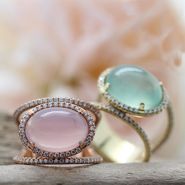 Two glowing chalcedony gems, new for spring!