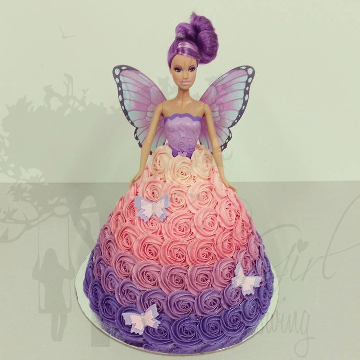 Purple and pink Ombre Small Roses Fairy Cake