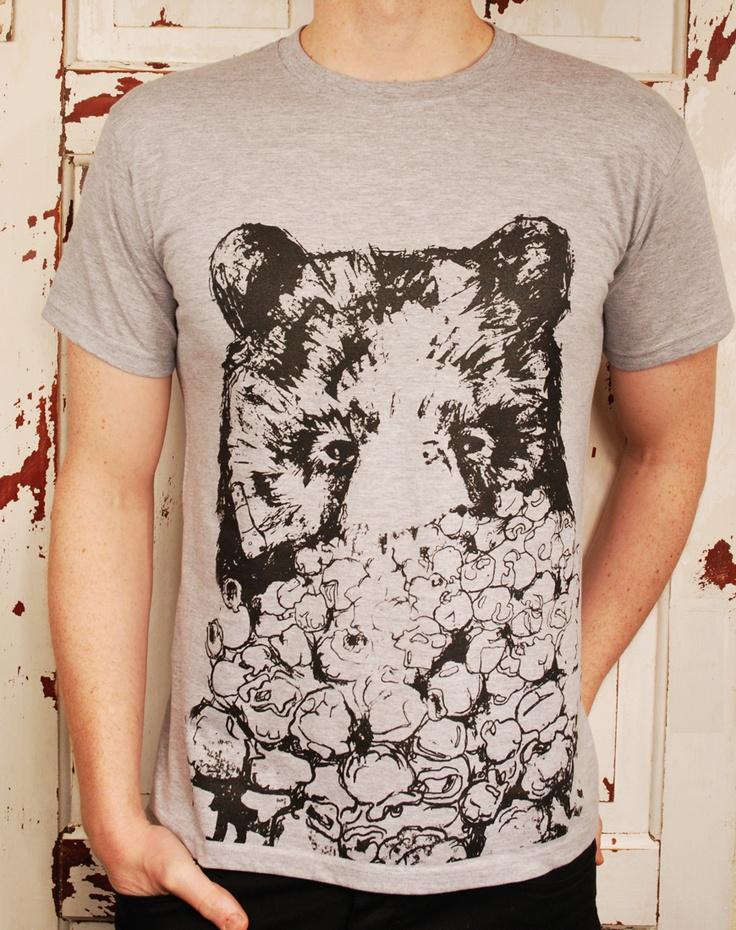Grey T-shirt screen print #popcornbear #popcorn #bears #tshirt #beartshirt
