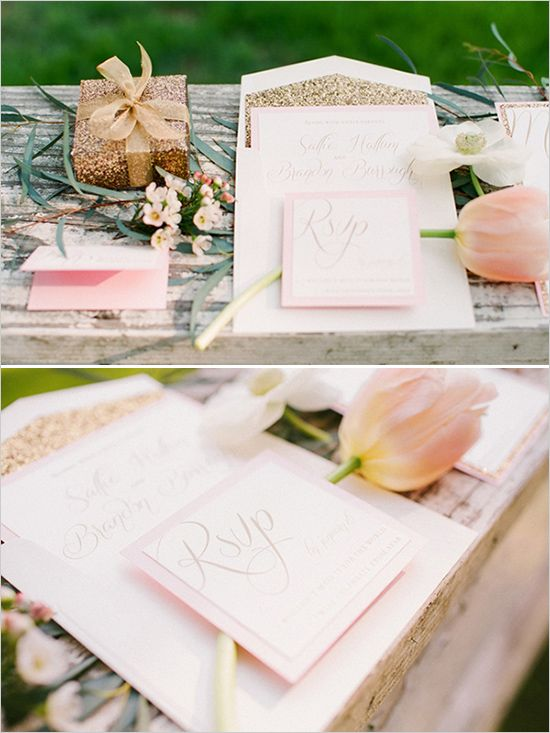 Lovely light pink wedding stationery by Hum Design Company. Bridal Styling Hope Stanley- Bridal Stylist. Photography by Valentina Glidden Photography. See the whole post at http://www.weddingchicks.com/2013/06/27/pink-and-gold-wedding/