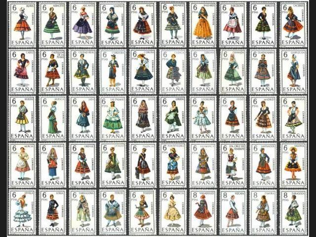 Esta colección de sellos fue emitida entre 1967 y 1971. Imágenes extraídas de la siguiente página: http://www.filatelissimo.com/trajes-tipicos-espanoles/