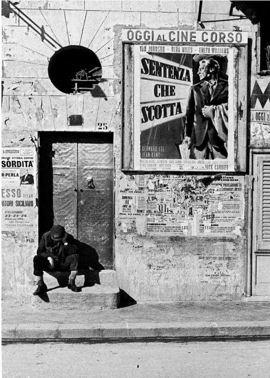 Photo by by Ferdinando Scianna. Cinema Corso, Bagheria, Sicily, 1961.