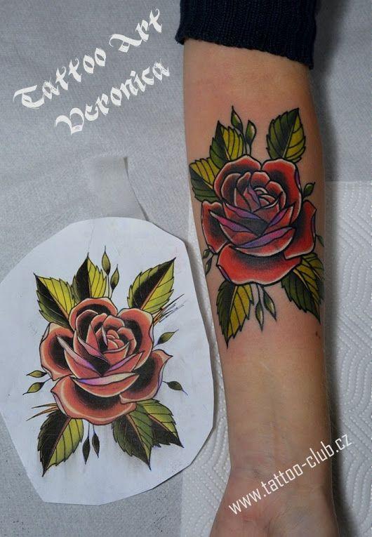 Tetování - Cover rose oldschool tattoo