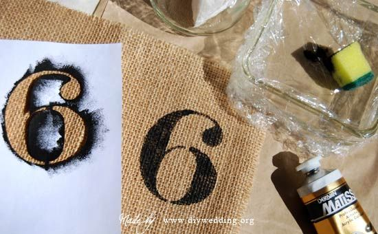 DIY wedding table numbers on burlap