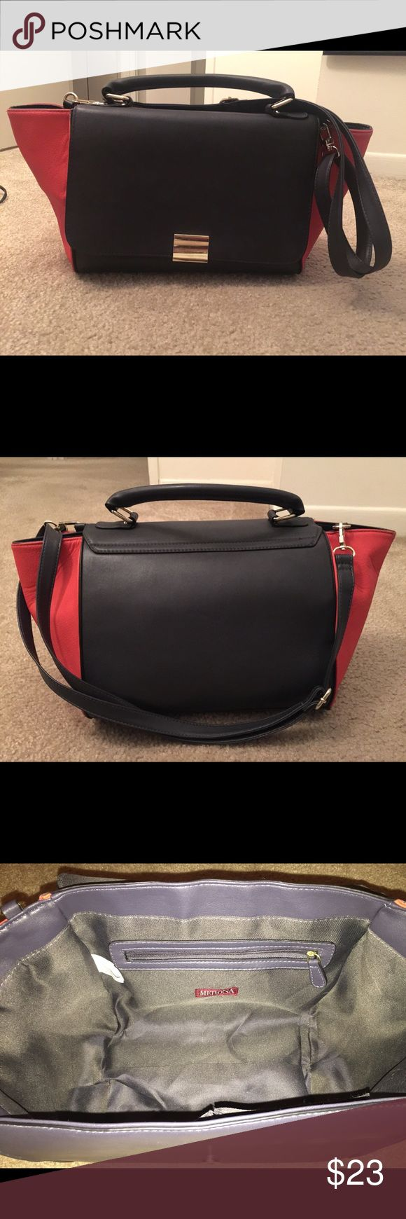 Merona color block purse Orange/coral and deep navy purse. Like new only used once or twice! Measures 11 in W, 7 in D, 7 in H. Merona Bags