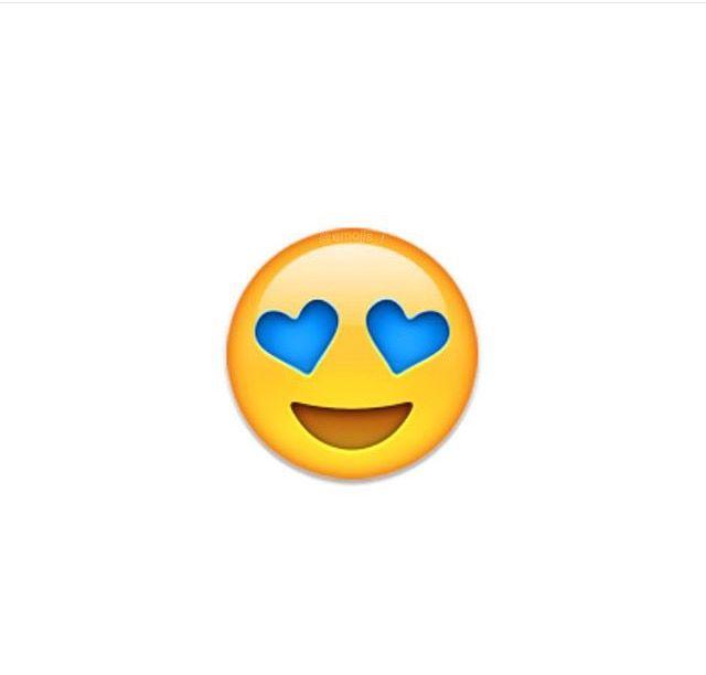 Emoji avec les yeux en forme de cœur bleu
