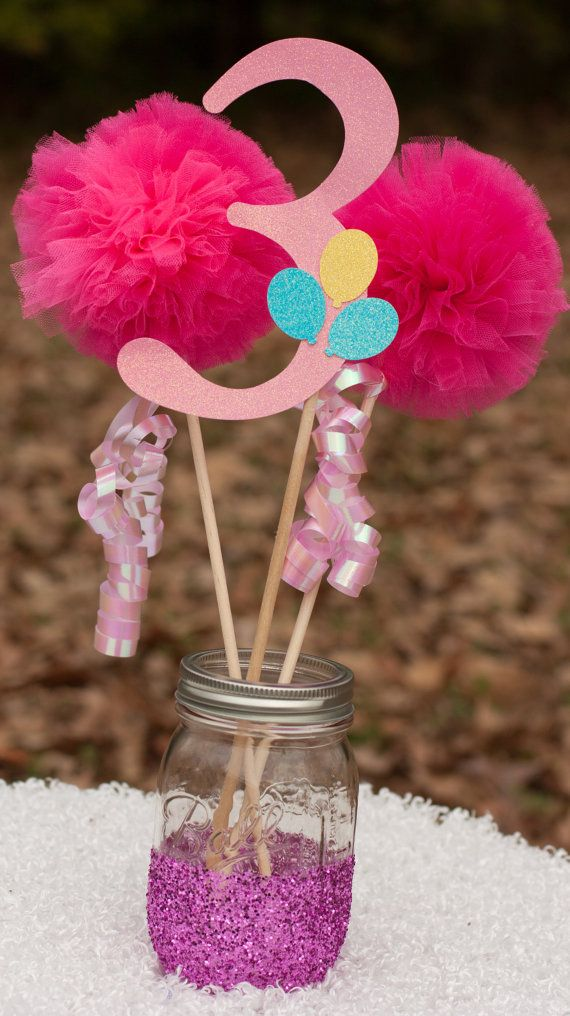This listing is for a custom centerpiece. You will receive: 1 number stick made from glittery light pink card stock and adorned with glittery