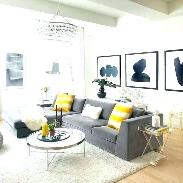 Blue Gray Yellow Living Room Interior Gray Yellow Living