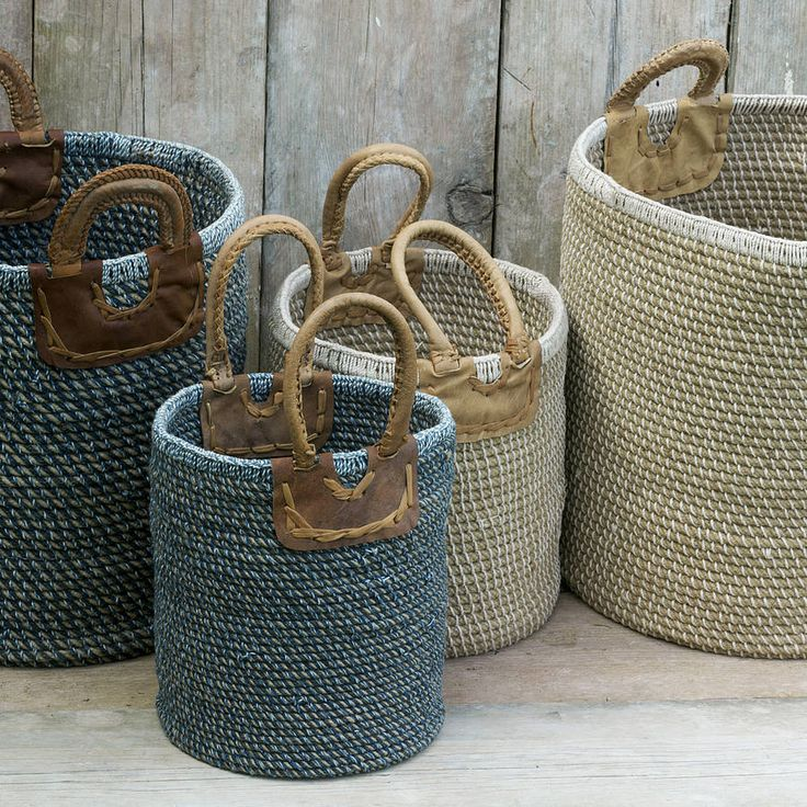 These wonderful coil baskets are handmade by a collective of craftswomen in India.Indigo Blue NaturalThe baskets are naturally dyed, hand spun and woven using natural fibres including jute, cotton and leather. Each piece takes an incredible amount of work and skill to complete. They are ideal for storing bathroom bits, toys, kindling and logs. The baskets are rigid and free-standing. These storage baskets would look great next to a fire place filled with logs, in a sitting room with ...