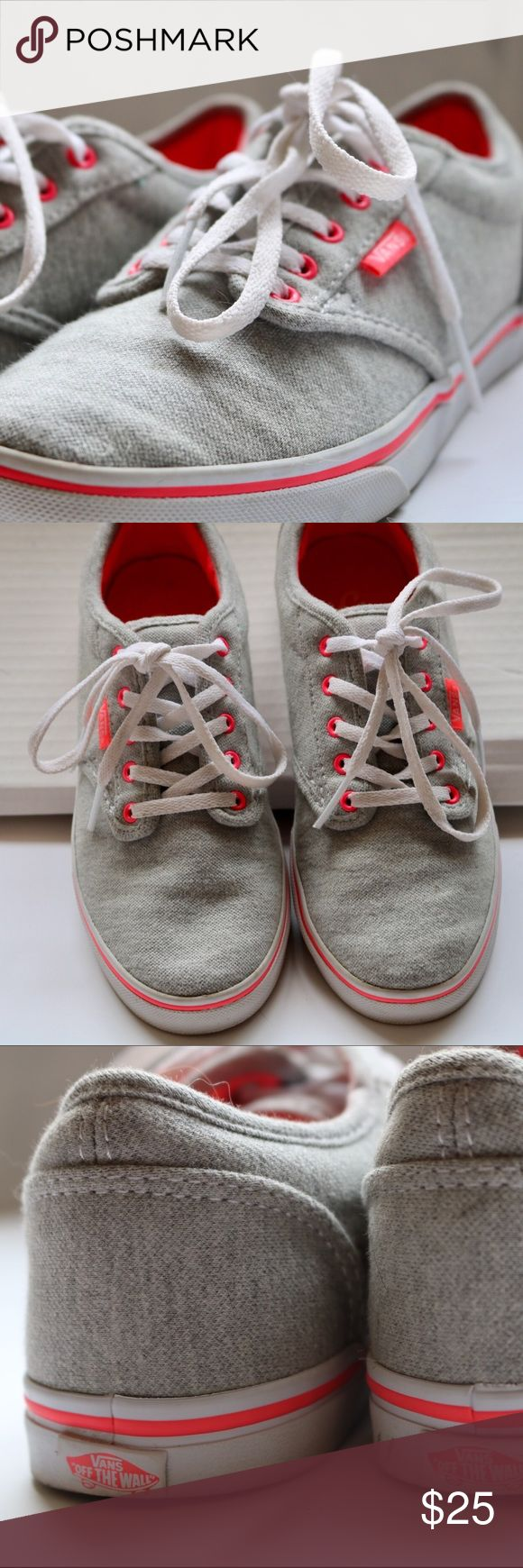 Pink and grey vans Grey vans tennis shoes with pink highlights inside the shoes, a line at the bottom, the tag, and the eyelets. Along with white lasses and white at the bottom of the shoe.                            ⭐️great condition, only worn once.                       🚫no trades Vans Shoes Sneakers