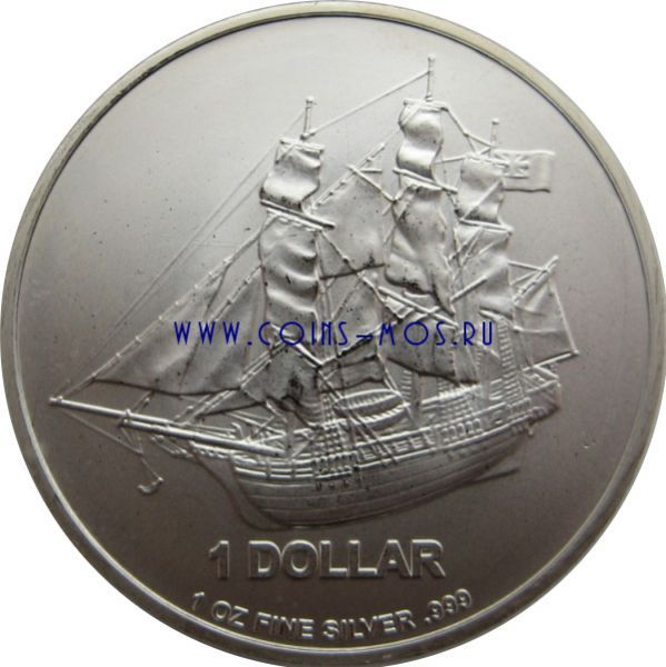 Острова Кука 1 доллар 2014 г «Парусник»   Унция чистейшего серебра 31,1 гр.