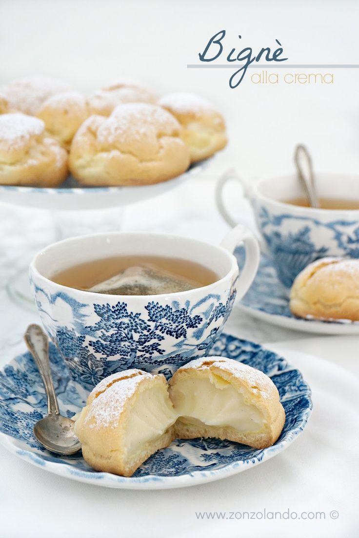 Bignè alla crema pasticcera - Cream puffs with vanilla custard filling   From Zonzolando.com