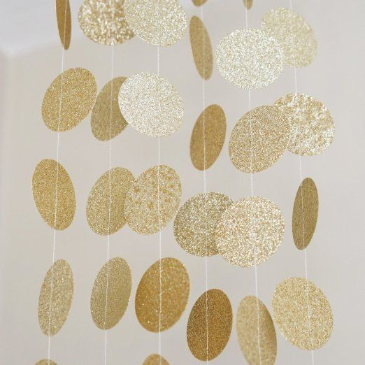 Gold Glitter Circle Polka Dots Paper Garland Banner 10 FT Banner, Celebration Party Decor